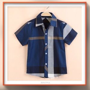 Other - Boys BURBERRY STYLE navy check short sleeve shirt