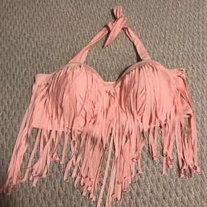 Plus size pink fringe bikini top