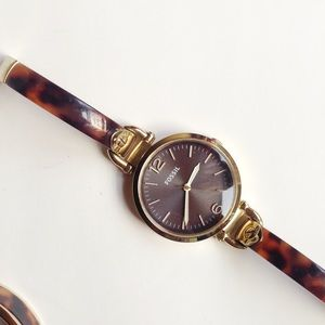 Fossil Georgia black dial tortoise shell watches