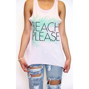 Junk Food Clothing Tops - {Junk Food} Beach Please Traveler Tank in Petal