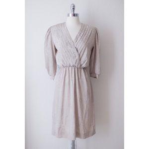 Vintage Beige 1980s Satin Brocade Career Dress