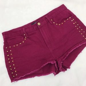 Forever 21 Pants - F21 High Rise Burgundy Studded Jean Short Shorts