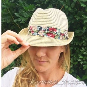 Straw Fedora with Navy Floral Band