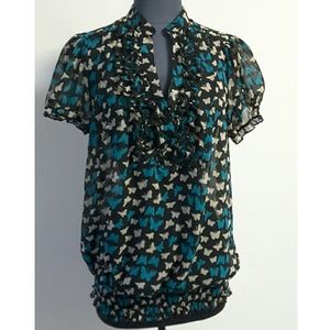 Pure Energy Tops - Sheer Butterfly Print Ruffled Front Top Size 16