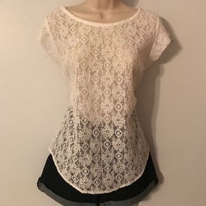 Stylus Tops - 🔥White lace short sleeve blouse