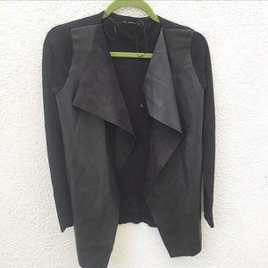 Zara Knit Faux Leather Black Open Cardigan Jacket