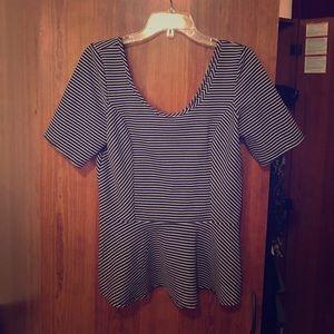 Black and white pinstripe peplum shirt