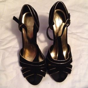 Call It Spring Shoes - Black velvet and gold heels