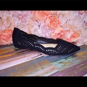 濾Ballerina Cut Out Flats-Black