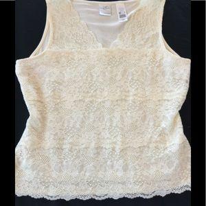 Emma James cream stretch lace top
