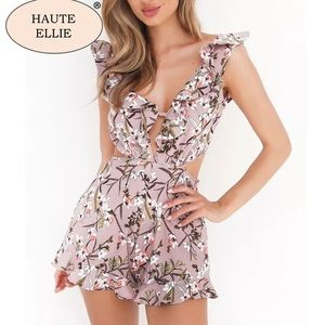 Haute Ellie Pants - Sincerity Floral Ruffle Romper