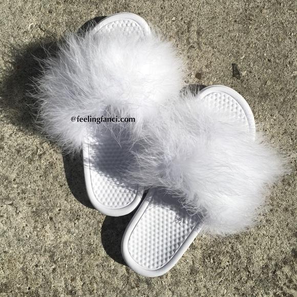 23711b9fdab58 Custom All white Nike faux fur slides