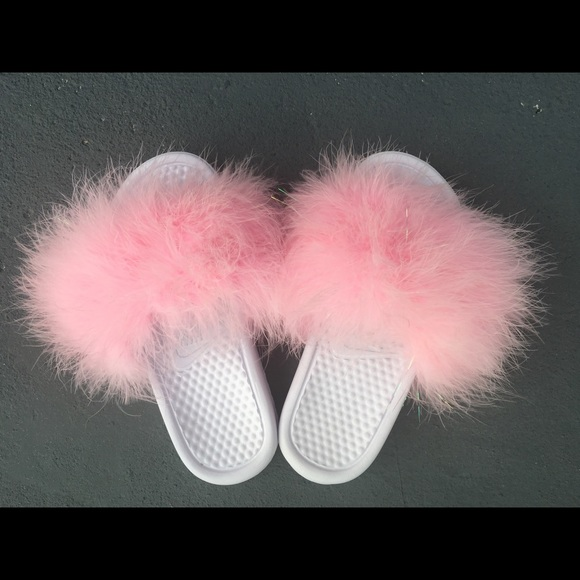 low priced c2f9d 8a534 Custom Nike Candy Pink all white Nike fur slides NWT