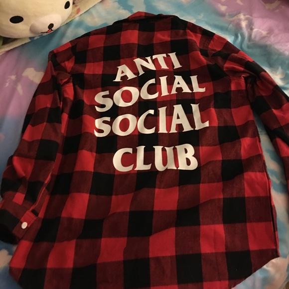 cb5729c37c92 Anti Social Social Club Red Black Flannel. M 58e5be2df09282b768030f75