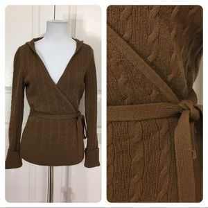Vince 100% cashmere hooded wrap sweater