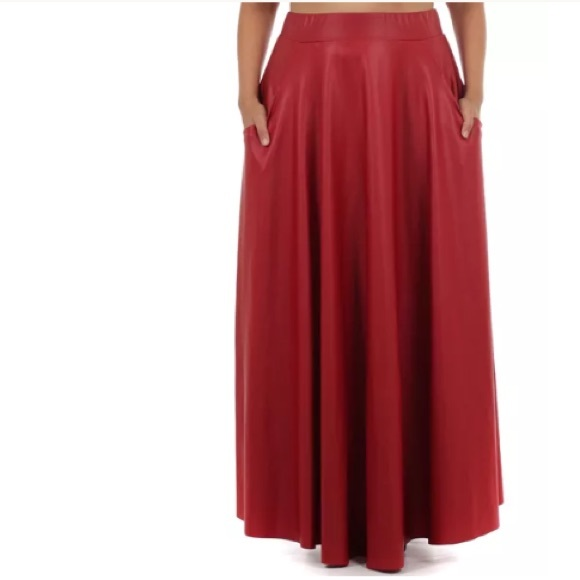 89fc63fa32 Plus Red Faux Leather Full Length Maxi Sweep Skirt