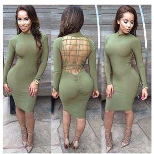 Army green sexy midi dress