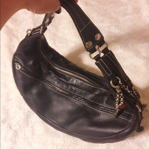 Elliott Lucca Handbags - Elliott Lucca Black Leather & silver tone Bag
