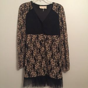 Anthropologie A' Reve Tan Black Lace Cardigan