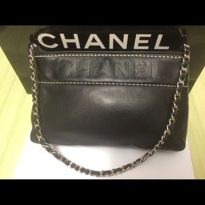 CHANEL Handbags - Authentic Chanel Logo Leather Chain Clutch
