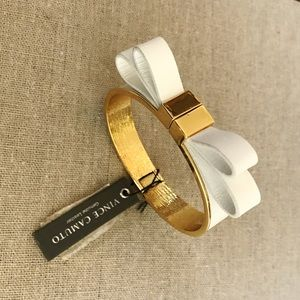 Vince Camuto Jewelry - Vince Camuto White Leather Bow Gold Bracelet