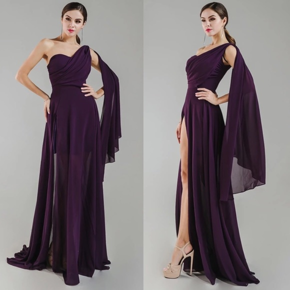 ab947d15377e Purple Off Shoulder Drape Cape Maxi Dress Gown