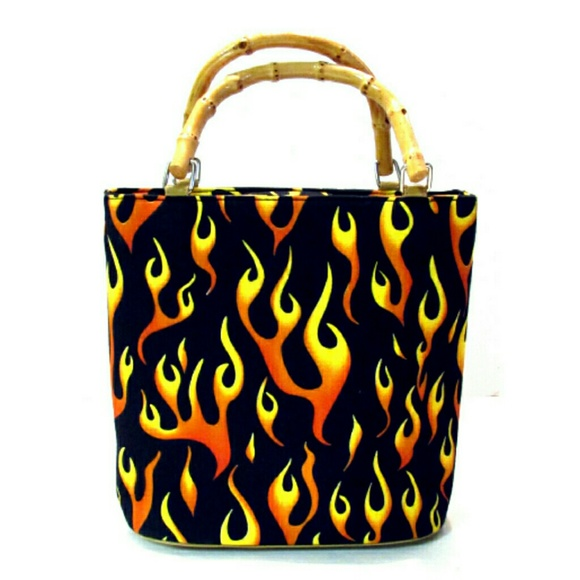 Unbranded Handbags - Novelty Flame Printed Purse Rhinestone Accents