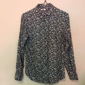 Uniqlo long sleeve cotton floral print shirt