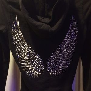 Black hoodie w angel wings sm excellent condition