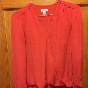 Calvin Klein fuschia chiffon faux wrap blouse