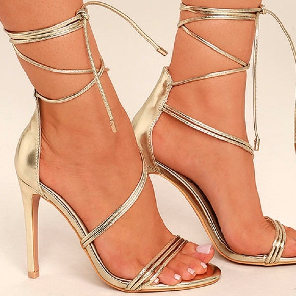 98017b400669 Gold Lace Up Heel