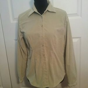 At Last Tops - Light green velvety button down top
