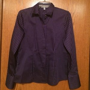 Foxcroft Tops - NEW Purple/Black striped Fitted Shirt