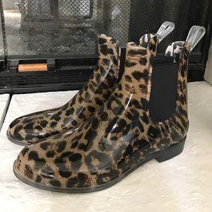 J.Crew Leopard Rain Booties NWOT
