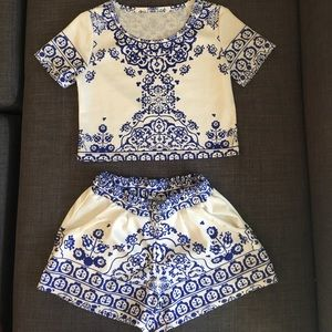 Blue & white shorts and shirt combo