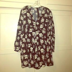 NWT Zara basic floral romper sz M