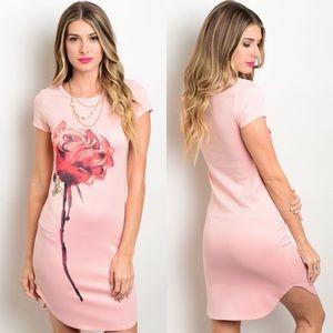 Boutique Dresses & Skirts - Blush Pink Floral Rose Short Sleeve Bodycon Dress