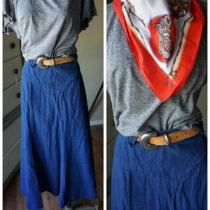 Fabulous Vintage Denim Western Wear Circle Skirt