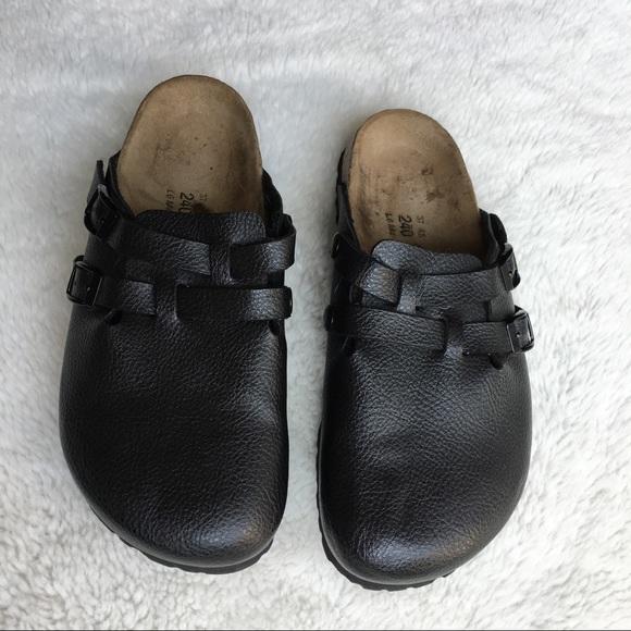 7f6b20a7ad76 Birkenstock Shoes - Birki s by Birkenstock Black Leather Clogs ...