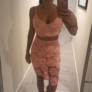 Peach two piece dress