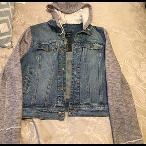 Black Rivet Jackets & Blazers - Women's jean jacket w/ hood.
