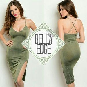 Bella Edge Dresses & Skirts - Olive slit side midi dress