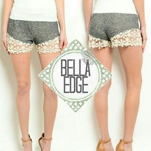 Bella Edge Pants - Heather gray cream floral crochet shorts