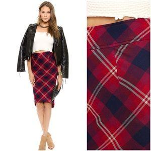 Free People Plaid Geometric High-Low Pencil Skirt