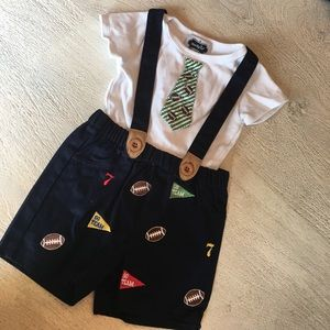 Mud Pie Other - Mud pie football suspenders outfit
