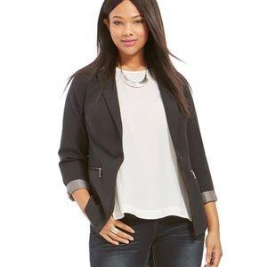 Yours Clothing Jackets & Blazers - Modern Plus Contrast Lining Zipper Pocket Blazer