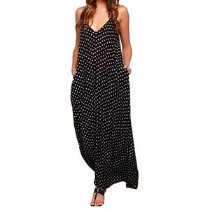 V-Neck Polka Dot Boho Long Maxi Dress