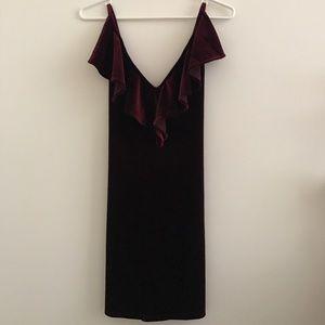 Nasty Gal Ruffle Cross Cross Velvet Dress