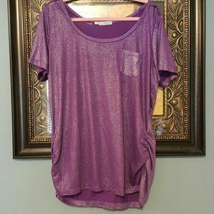 Maurices metallic purple pocket tee NWOT