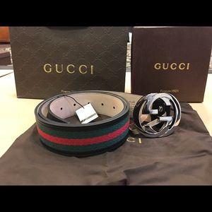 Gucci Other - Gucci Black/Green/Red Leather Belt Silver Buckle